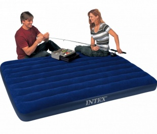 Надувной матрас Intex 68755 classic downy bed, 183х203х22см
